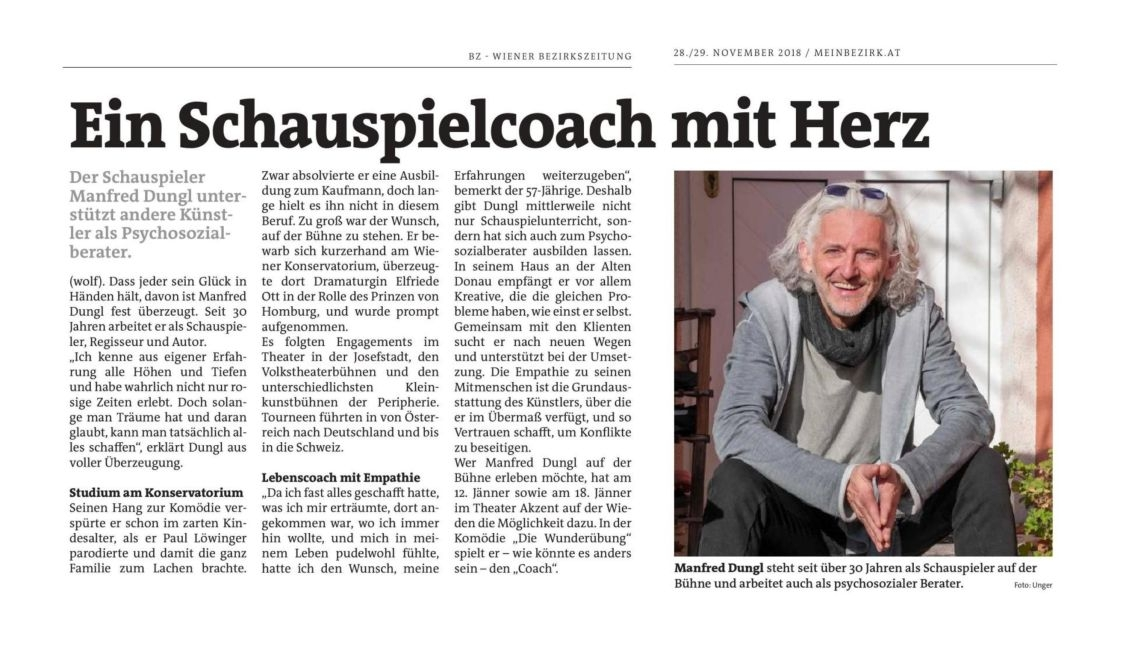 Manfred Dungl - Schauspielcoach mit Herz
