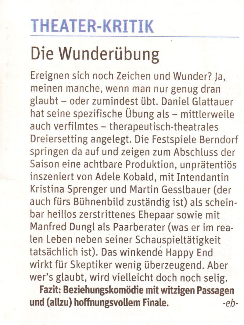 Manfred Dungl - Die Wunderübung Kritik