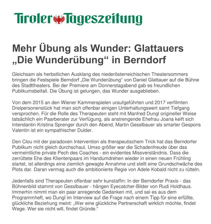 Die Wunderübung - Tiroler Tageszeitung